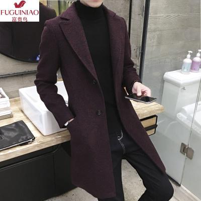 富贵鸟(FUGUINIAO)2019新款秋冬季韩版修身男士毛呢大衣潮流风衣男中长款雪花呢外套冬季加厚
