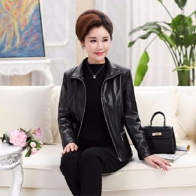中老年皮衣女装春秋装短款皮夹克外套韩版修身PU大码 莎丞