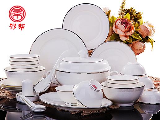 餐具套装56头骨瓷碗碟景德镇陶瓷器欧式碗具
