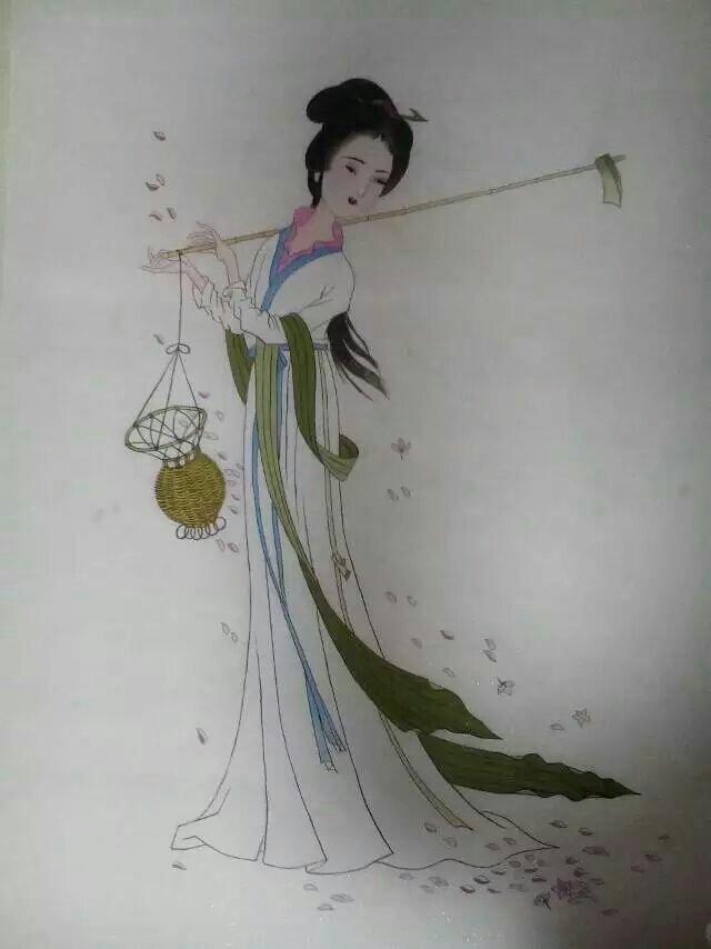 国画黛玉葬花