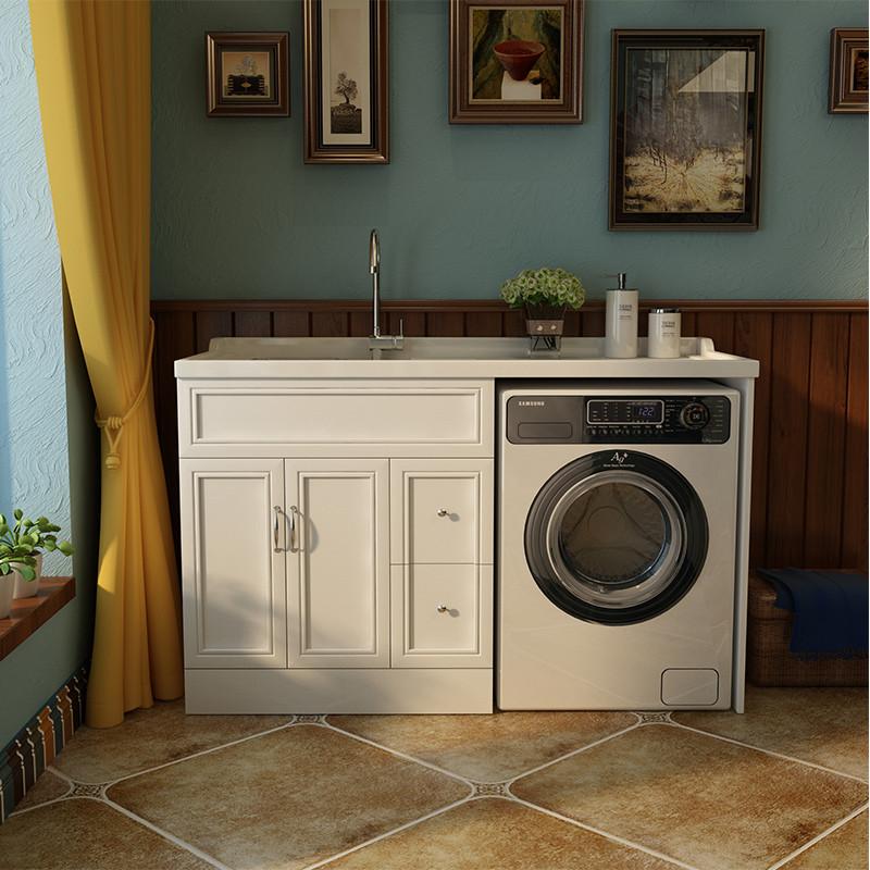 思蒙 洗衣柜滚筒洗衣机柜阳台石英石洗衣池带搓板实木浴室柜组合 1.