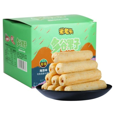 苏宁超市自营 米老头多谷果子海苔味320g 夹心米果卷 五谷杂粮糙米卷休闲零食小吃