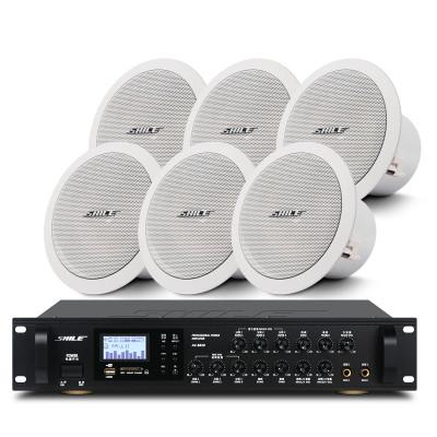 狮乐(SHILE)定阻吸顶喇叭6.5英寸会议室音响套装组合公共广播天花背景音乐功放系统 AV8820+BX-206*6