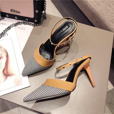 包头高跟鞋细跟复古新款时尚学生休闲单鞋夏季凉拖鞋女夏外穿女鞋