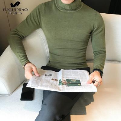 富贵鸟(FUGUINIAO)男士毛衣秋冬新款韩版修身纯色高领套头针织衫男翻领打底毛线衣潮